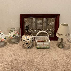 """Lot # 363 - Tin Framed """"The Last Supper"""", Small Lamps, Ceramic Basket"""