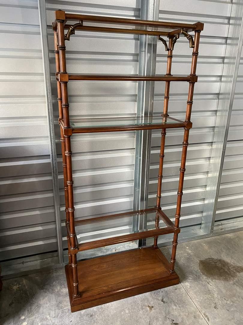 Lot # 1 - Pecan Wood Shelving Unit w/Glass Inserts (main image)