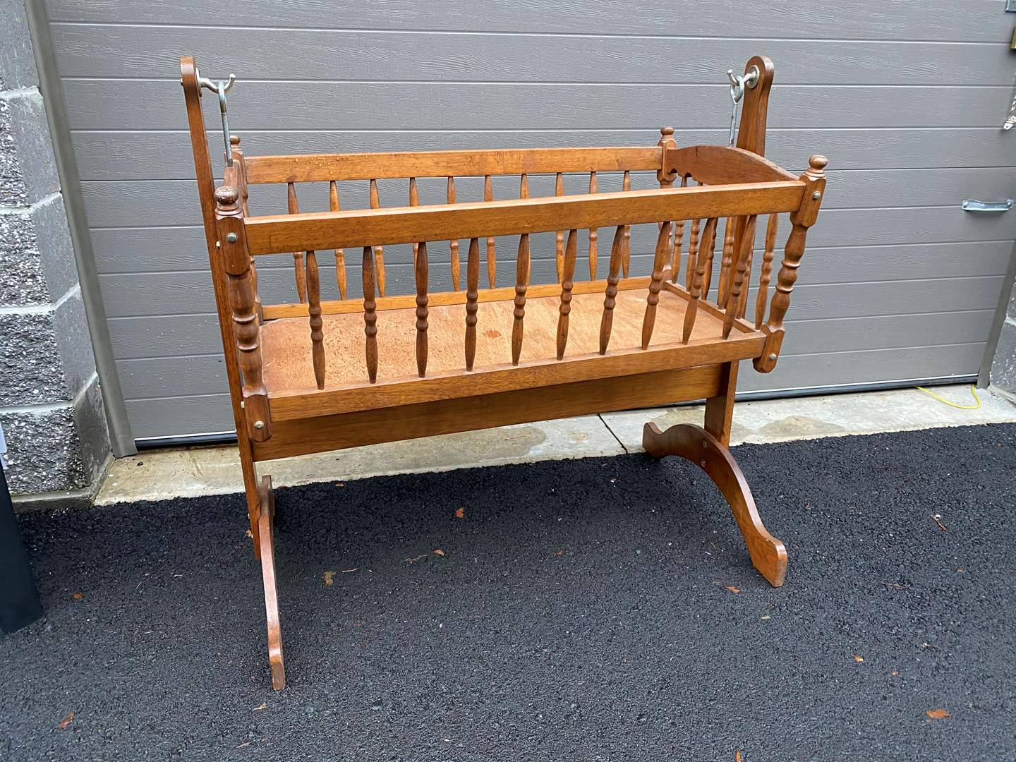 Lot # 7 - Vintage Swinging Baby Cradle  (main image)