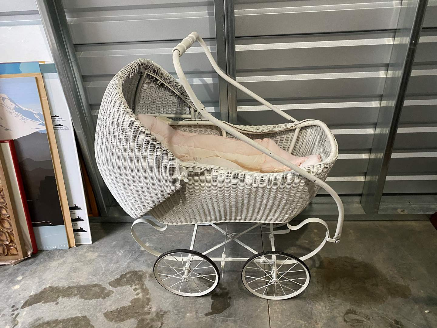 Lot # 8 - Antique Baby Carriage w/Blanket (main image)