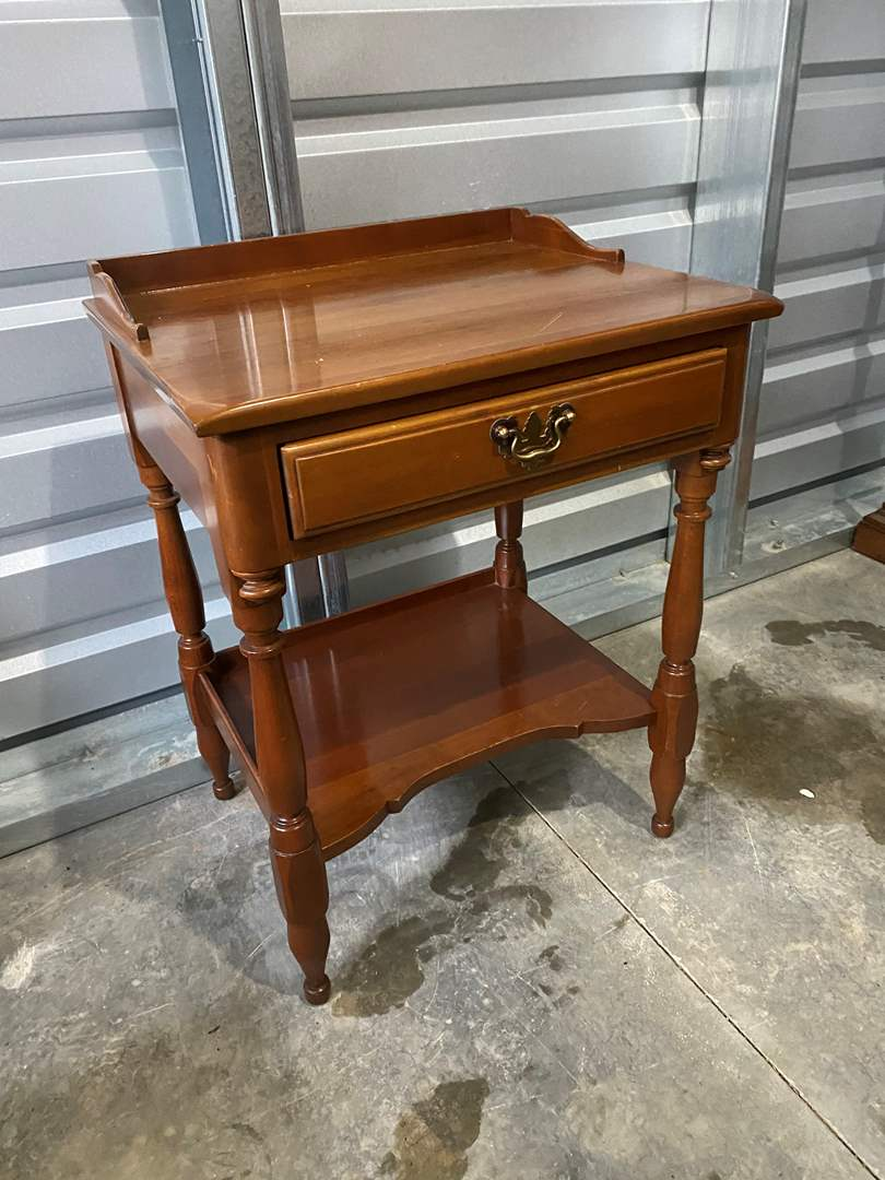 """Lot # 15 - Vintage """"Monitor Furniture"""" Solid Wild Cherry Side Table w/Dovetail Drawers (main image)"""