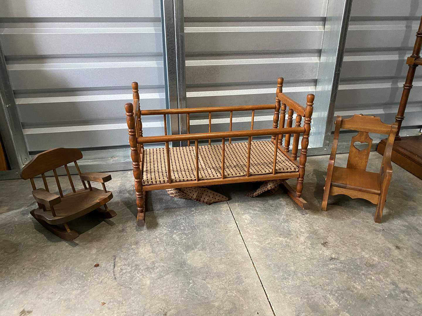 Lot # 16 - Vintage Wood Doll Crib & 2 Small Doll Chairs  (main image)