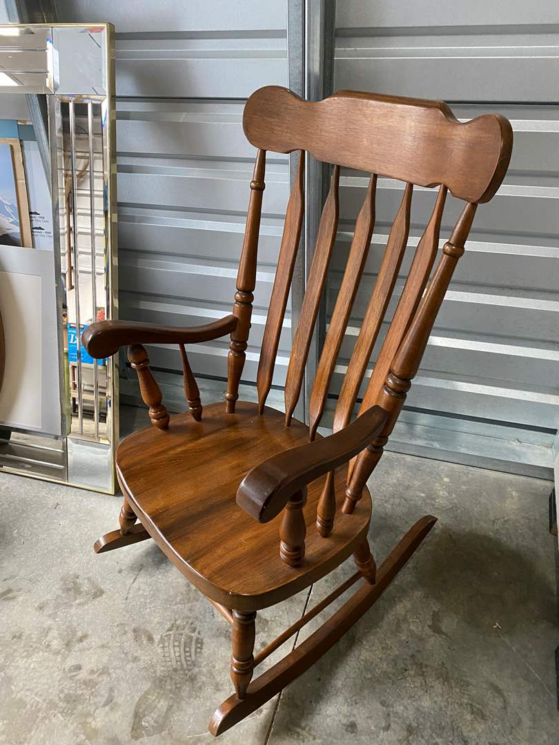 Lot # 22 - Vintage Wood Rocking Chair  (main image)