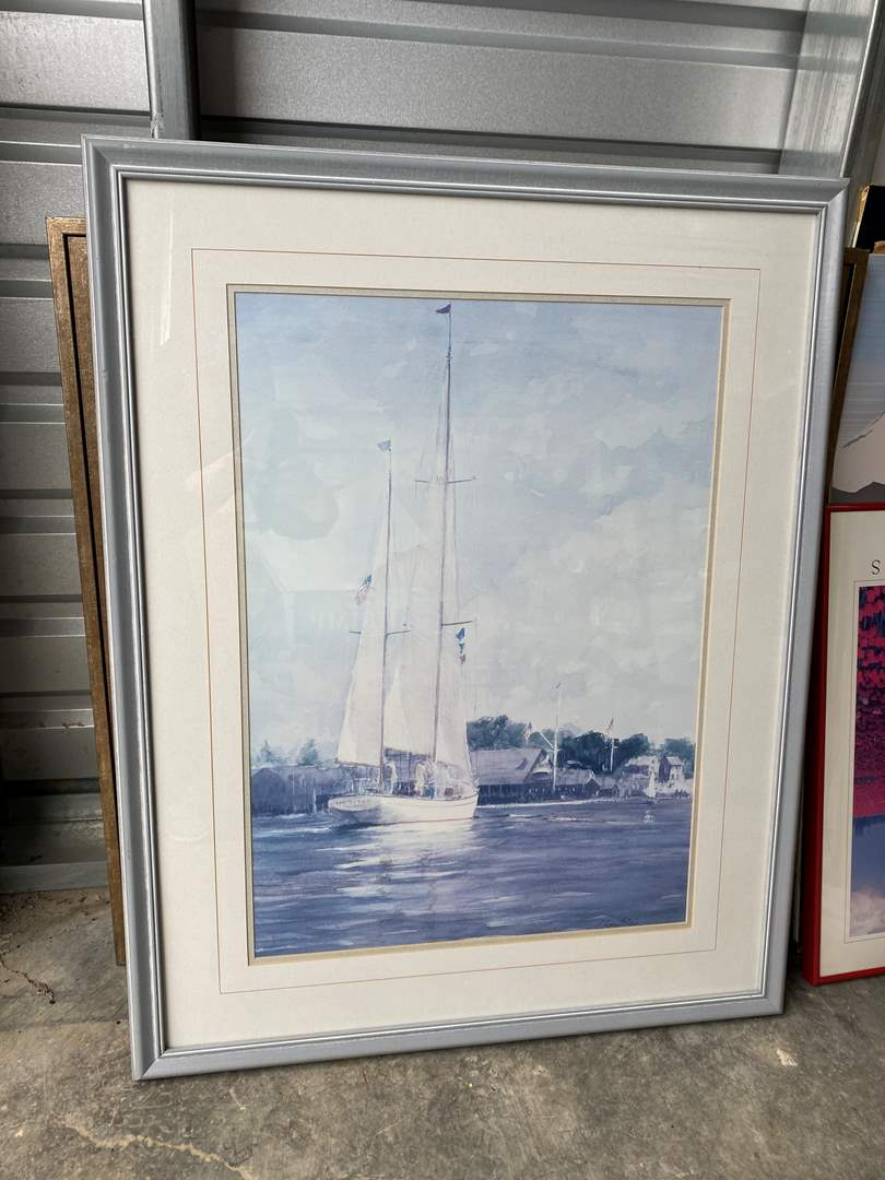 "Lot # 27 - Nice Framed Sailboat Print ""Heading Out"" by Ellis (main image)"