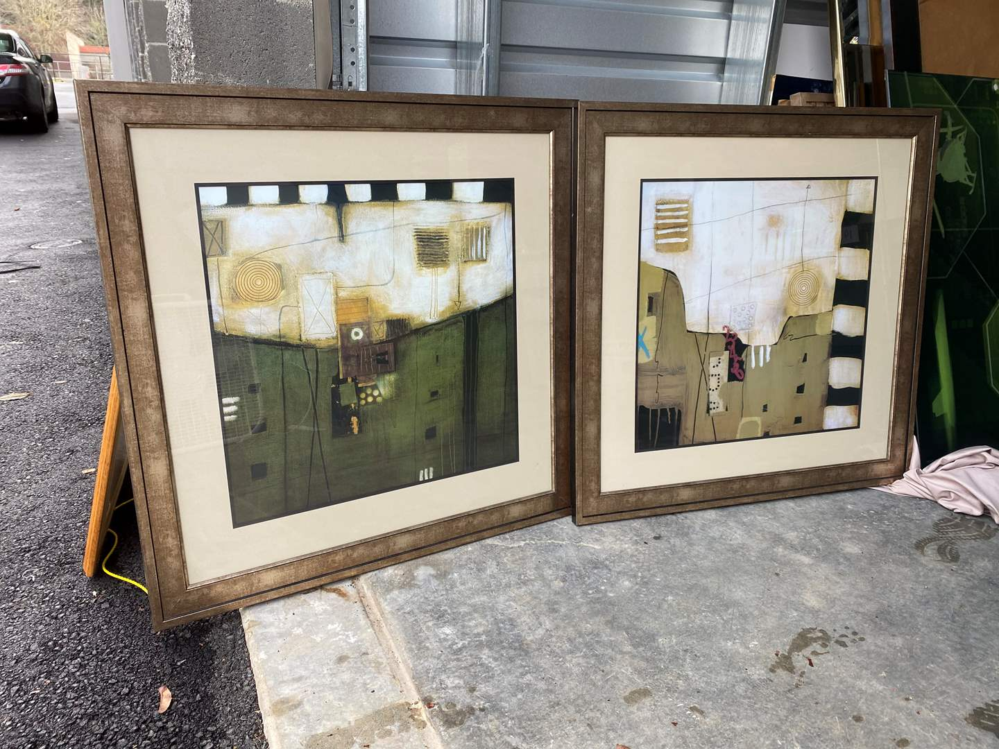 "Lot # 29 - Two Framed Abstract Prints by Schofield ""Falling 1 & Falling 2"" (main image)"