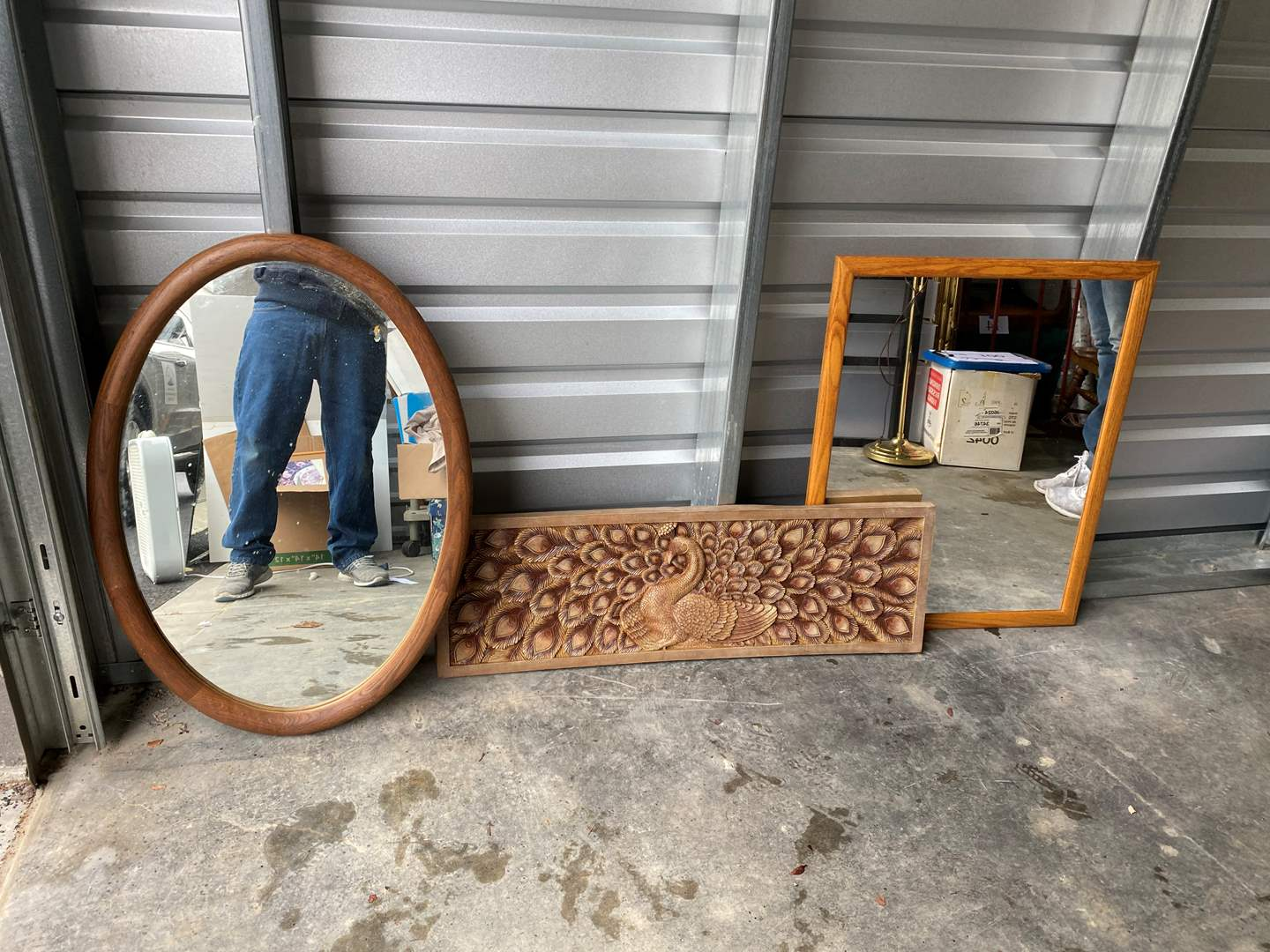 Lot # 36 - Two Framed Mirrors with a Nice Piece of Resin Peacock Wall Art. (main image)
