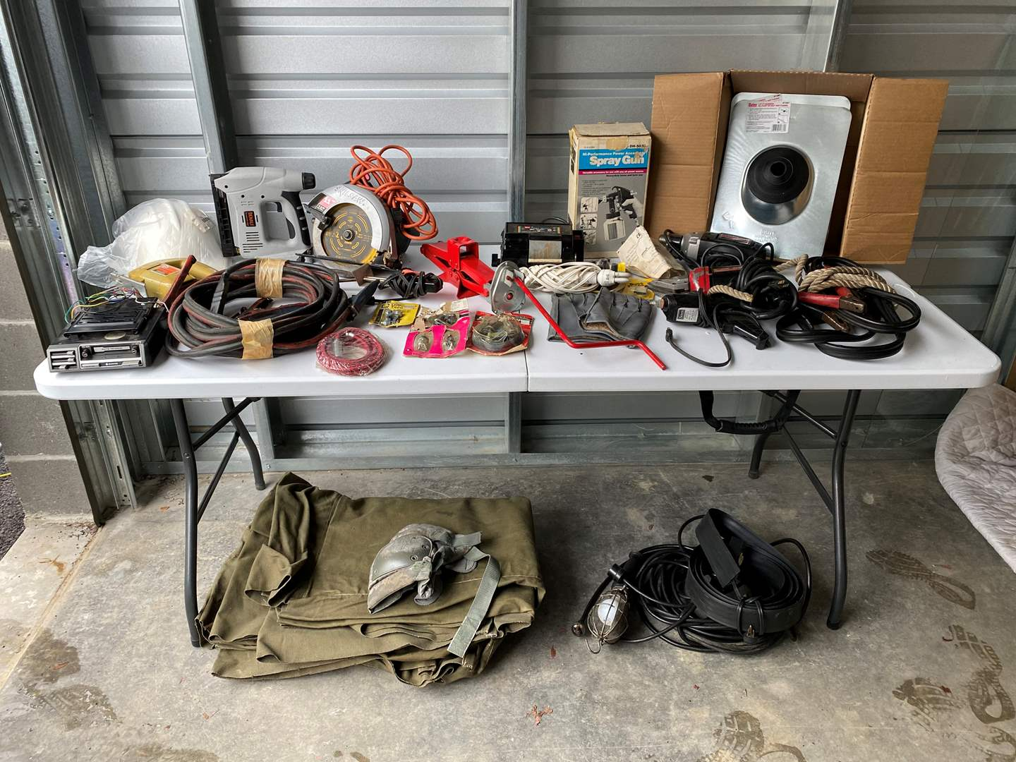 Lot # 37 - Tools: Skilsaw, Jumper Cables, Drills, Army Tarp, Box of Galvanized Roofing Flashings & More.. (main image)