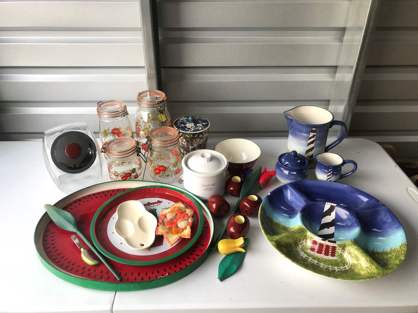 Lot # 46 - Misc. Kitchen Items: Mini Crock Pot w/Little Dipper, Serving Trays, Canisters & More.. (main image)