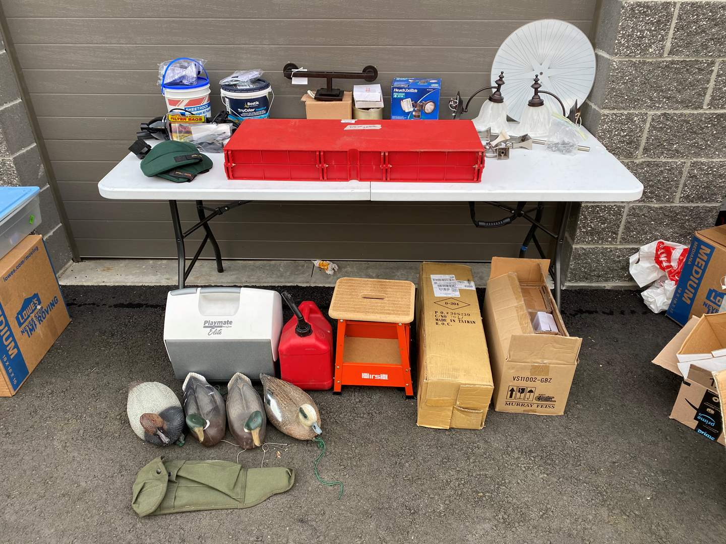 Lot # 66 - Light Fixtures, Small Vacuums, Hardware, Gas Can, Small Shop Stool & More.. (main image)