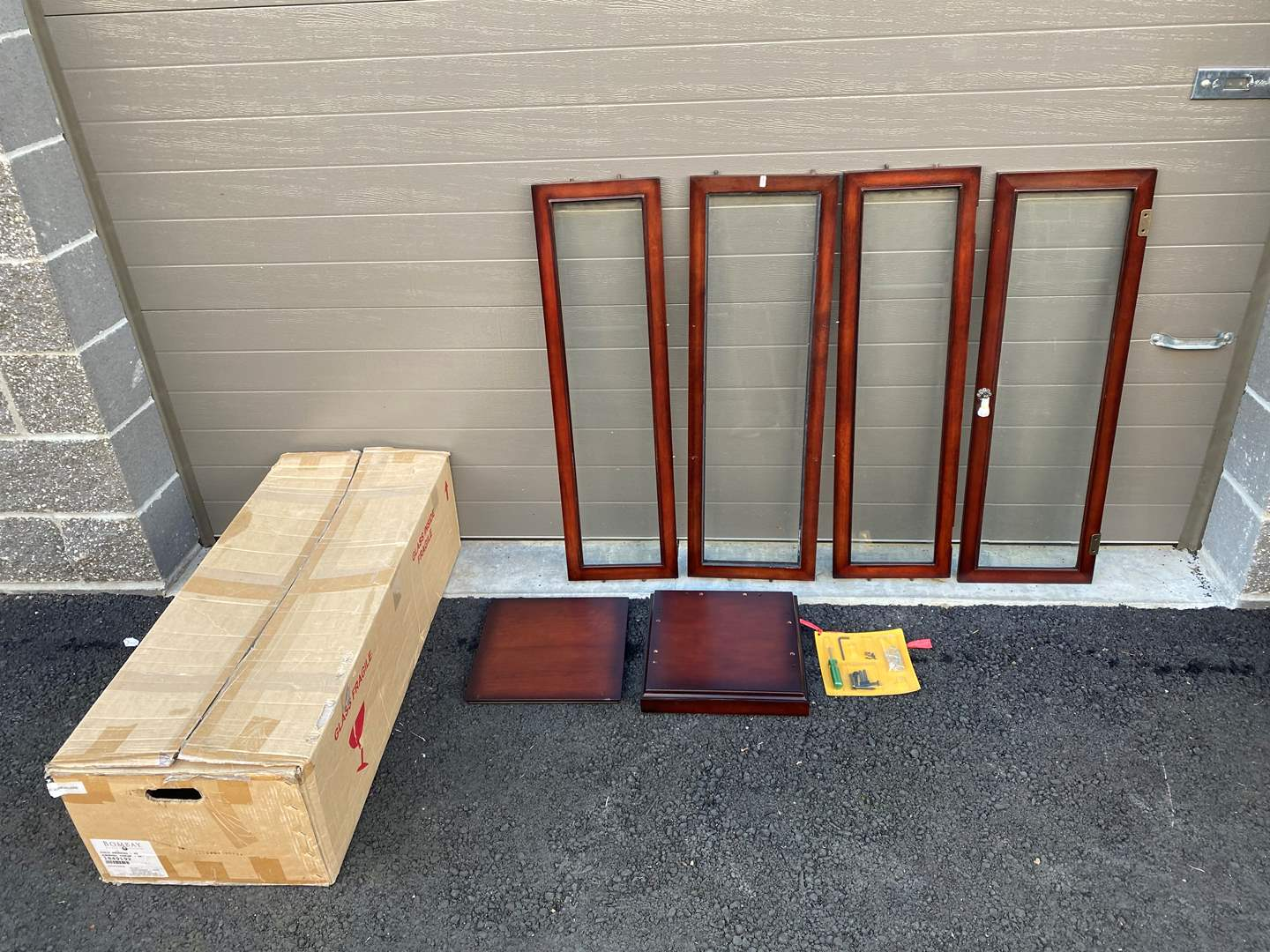 "Lot # 69 - ""Bombay"" Cherry Wood Display Case - Never Assembled  (main image)"