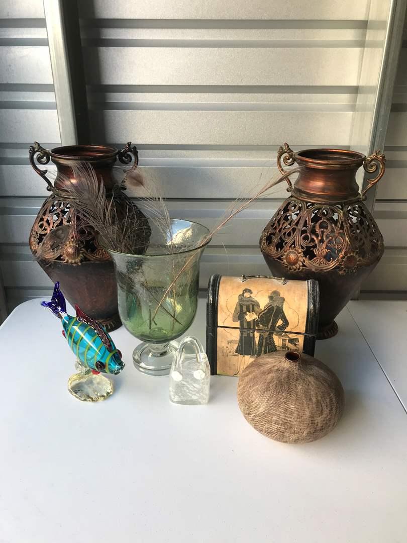 Lot # 48 - Beautiful Glass Fish, Large Glass Vase & More Glass Items (main image)