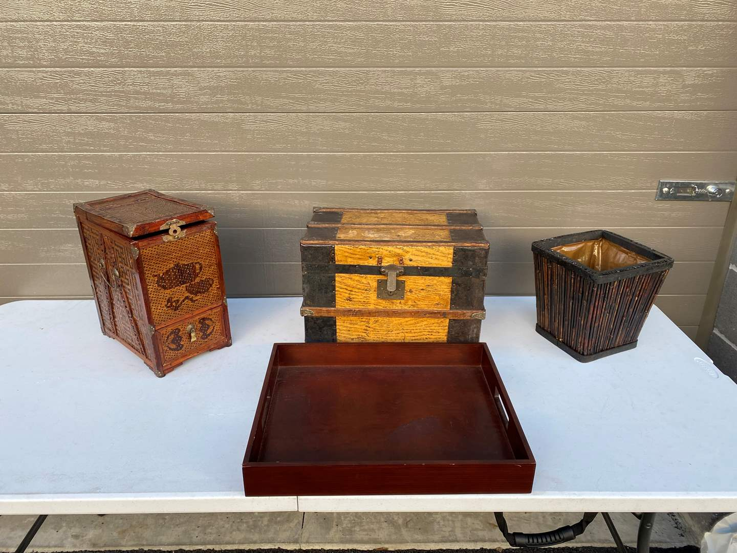 Lot # 75 - Vintage Small Steamer Trunk, Wood Tray, Asian Style Basket & More.. (main image)