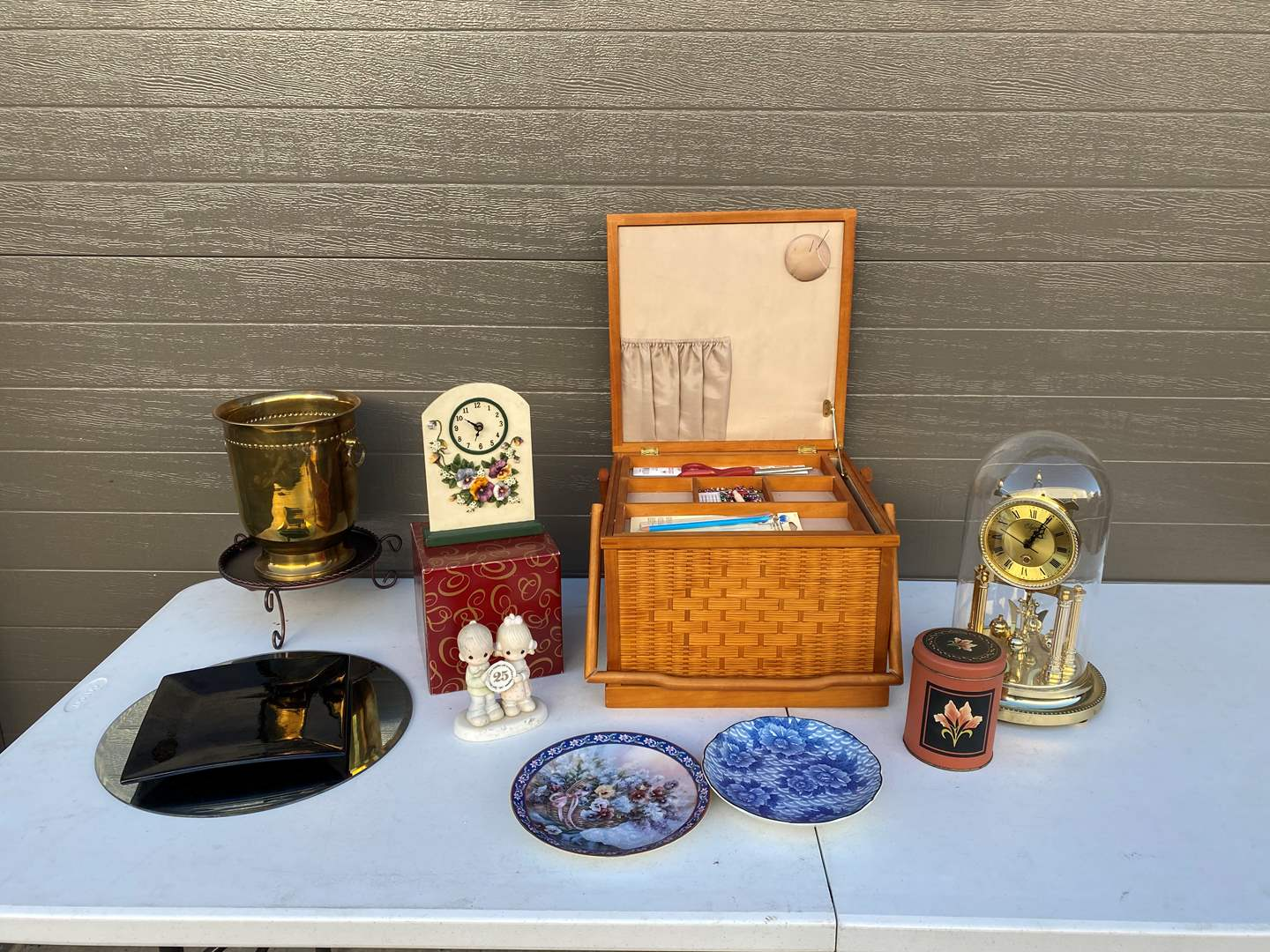 Lot # 78 - Vintage Elgin Anniversary Clock, Sewing Box, New Music Box, Brass Vase, Home Decor & More.. (main image)