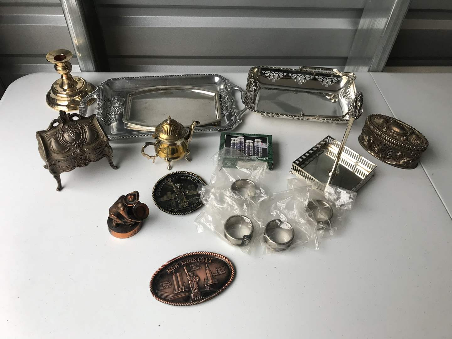 Lot # 53 - Silver Plated Serving Dishes, Napkin Rings, Jewelry Box & More.. (main image)