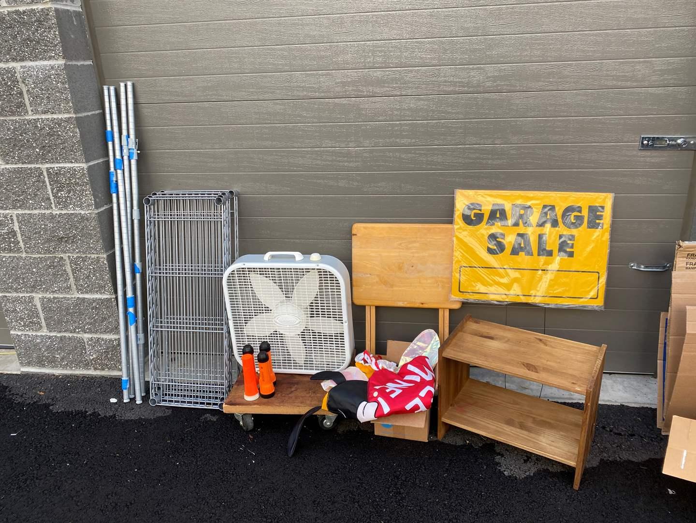 Lot # 95 - Metal NSF Shelving Unit, Furniture Dolly, Box Fan, Flash Light, Windsocks Flags, Small Wood Shelf & More.. (main image)