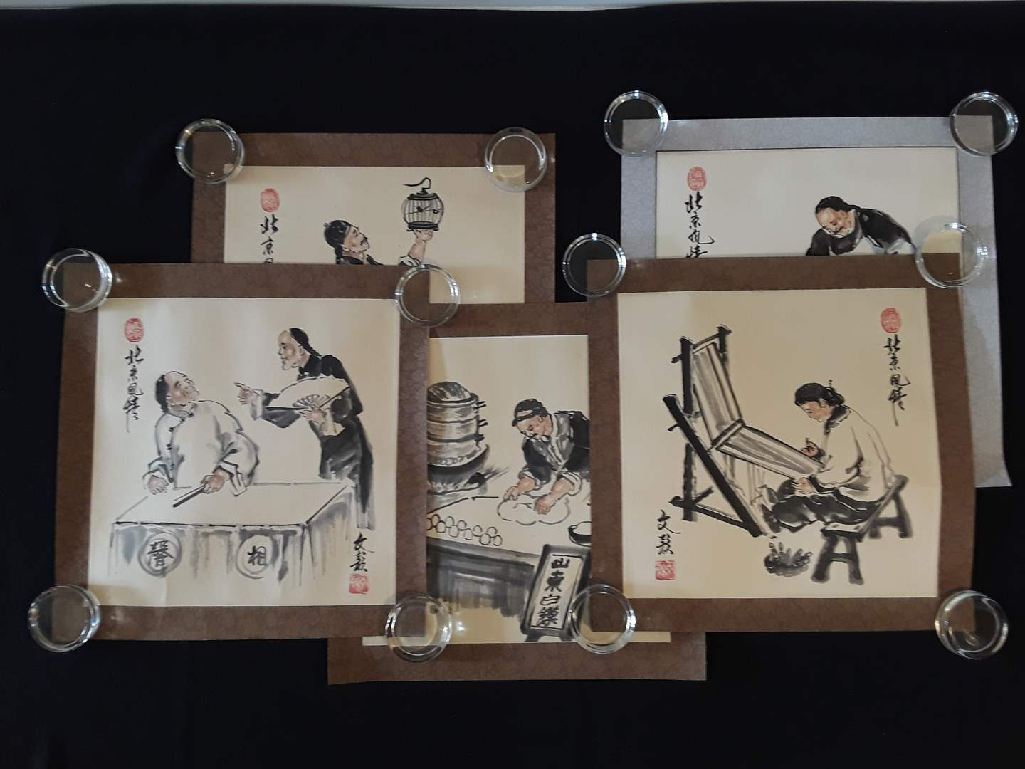 Lot # 86 - Lot of (5) Square Asian Figural Prints  (main image)