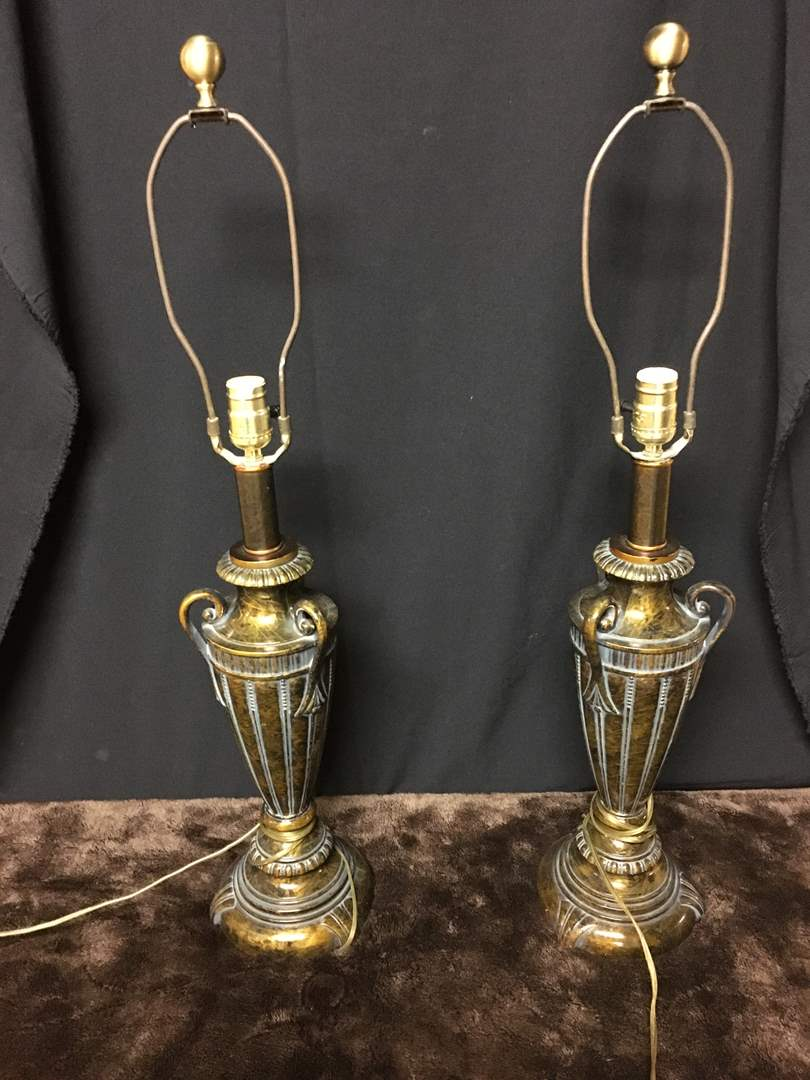 Lot # 16 - Lot of (2) Classic Matching Gold-tone Urn Table Lamps (main image)