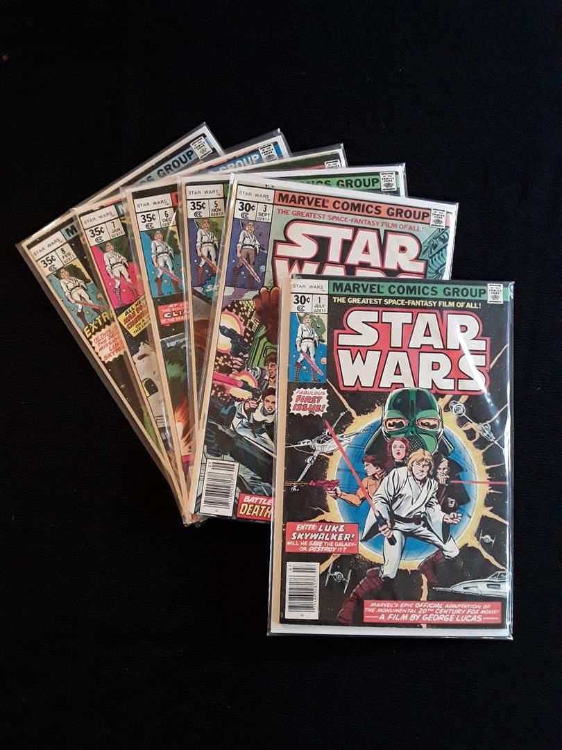 Lot # 98 - Lot of (6) Original Pressing 1977 Star Wars (30 cents cover) #1, #3, #5-8 (main image)