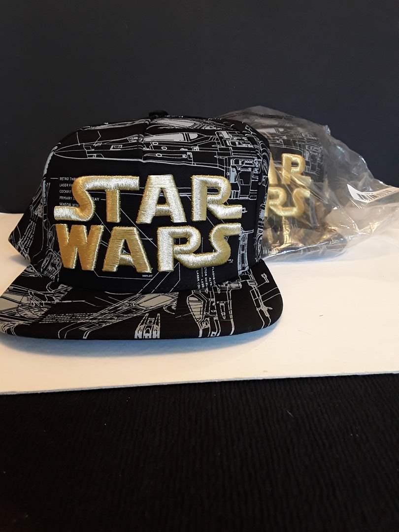 Lot # 99 - Pair of Modern Gold Embroidered Star Wars Hats (NIB) (main image)