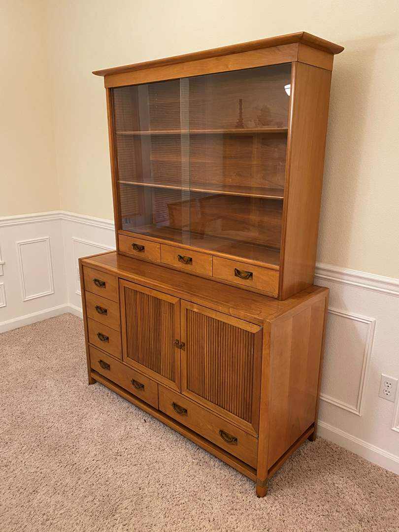 """Lot # 2 - Vintage Mid-Century Teak """"Hickory Furniture"""" Tung Si Two Piece Hutch/Buffet w/Dovetail Drawers (main image)"""