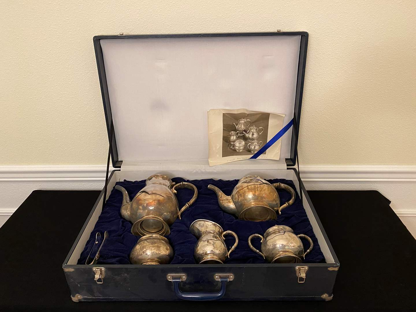 """Lot # 4 - Awesome 6-Piece """"Royal Danish"""" Sterling Silver Coffee/Tea Serving Set w/Original  Carrying Case - Total 2,825 Grams (main image)"""