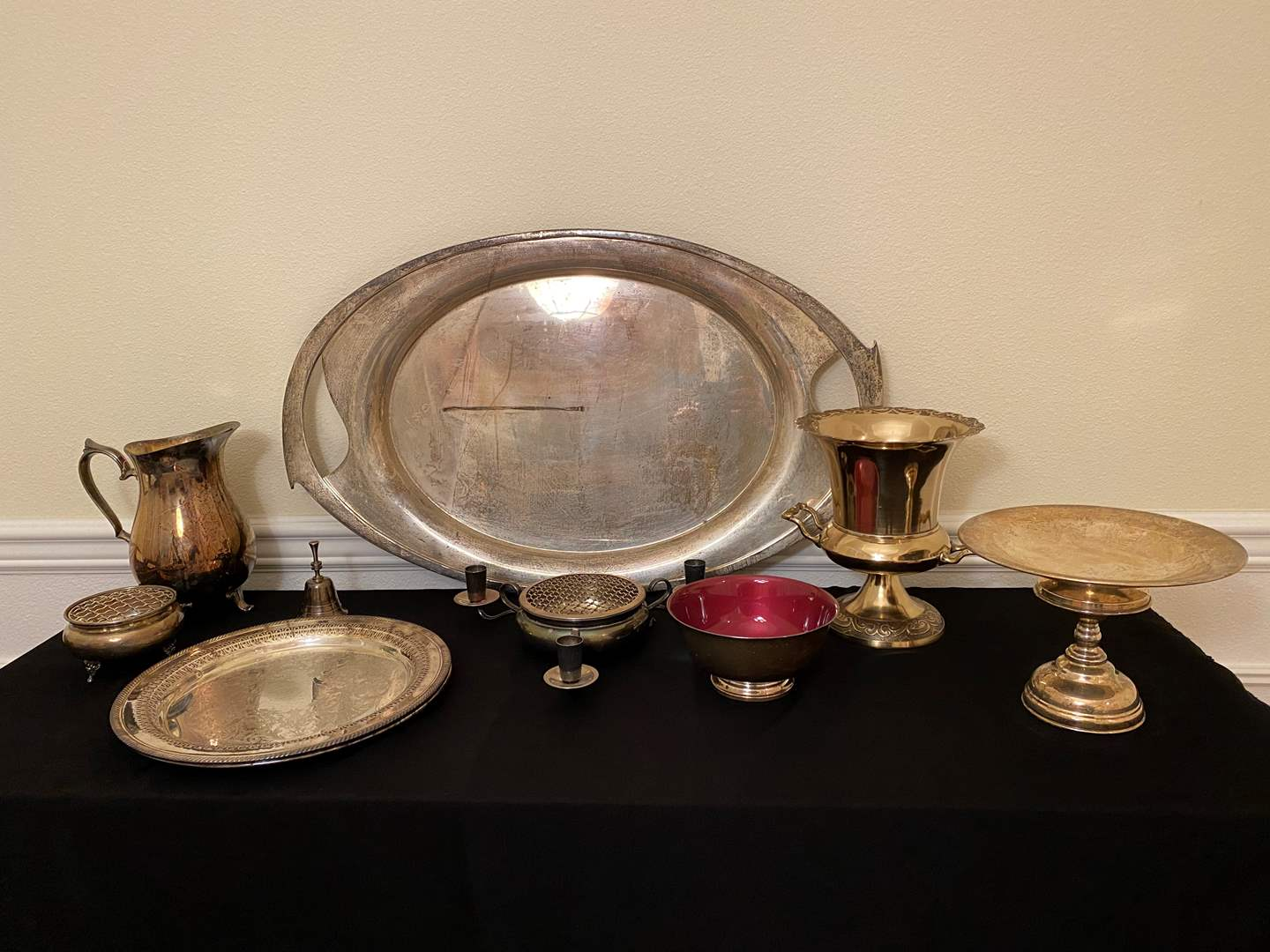 Lot # 6 - Silver Plated & Nickel Plated Silver Serving Dishes, Pitchers, Candle Holders & More.. (main image)