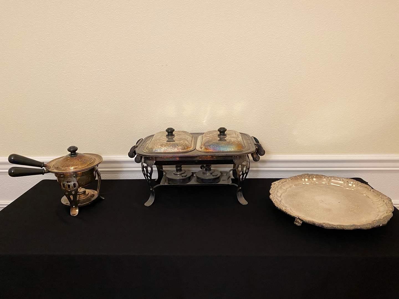 Lot # 7 - Silver Plated Chafing Dish, Fondue Set & Electric Platter. (main image)