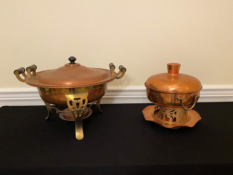 Lot # 8 - Vintage Brass & Copper Fondue Sets (main image)