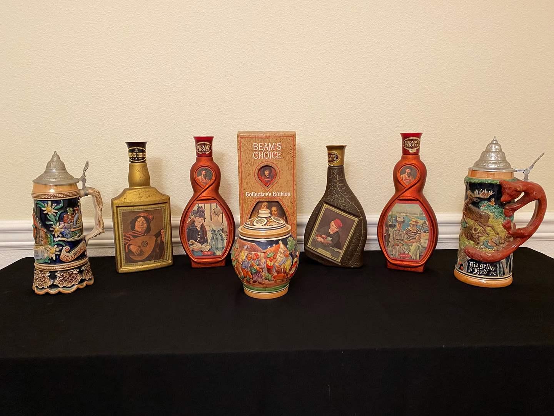 "Lot # 10 - Vintage ""Beams Choice"" Decanters, Two German Steins, Small German Decorative Clay Jar (main image)"