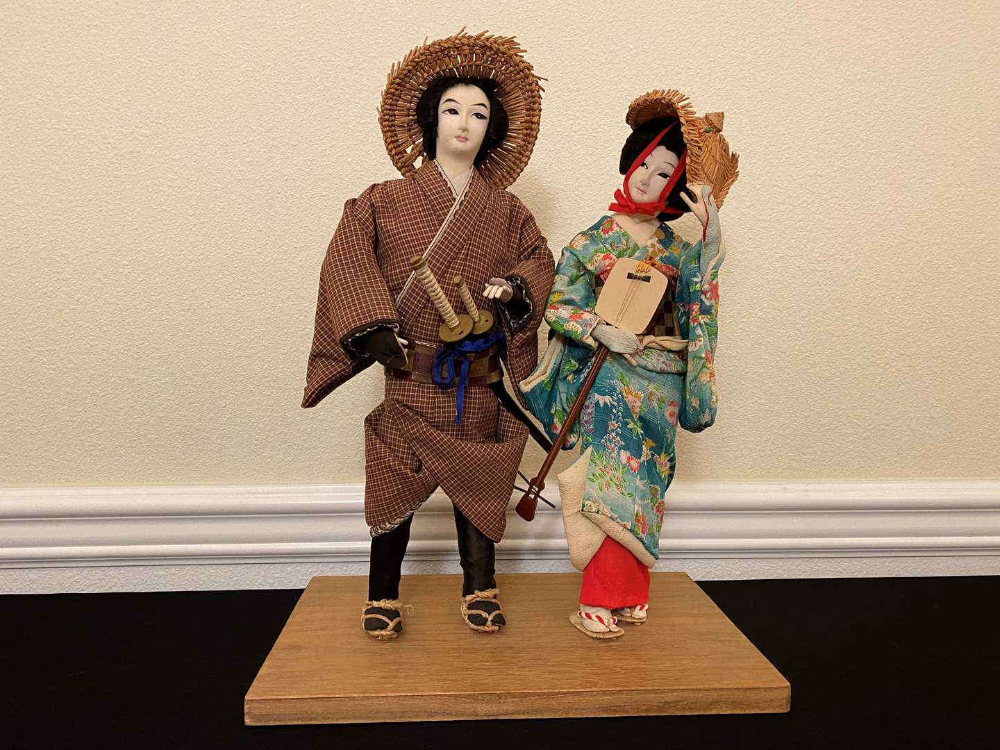 Lot # 11 - Two Hand Made Cloth Asian Figurines - 18.5 Tall  (main image)