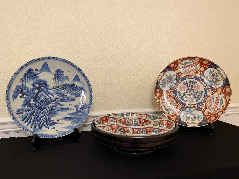 "Lot # 15 - Large ""Gold Imari"" Hand Painted Plate, Decorative Blue Asian Plate, Lazy Susan Snack Set (main image)"