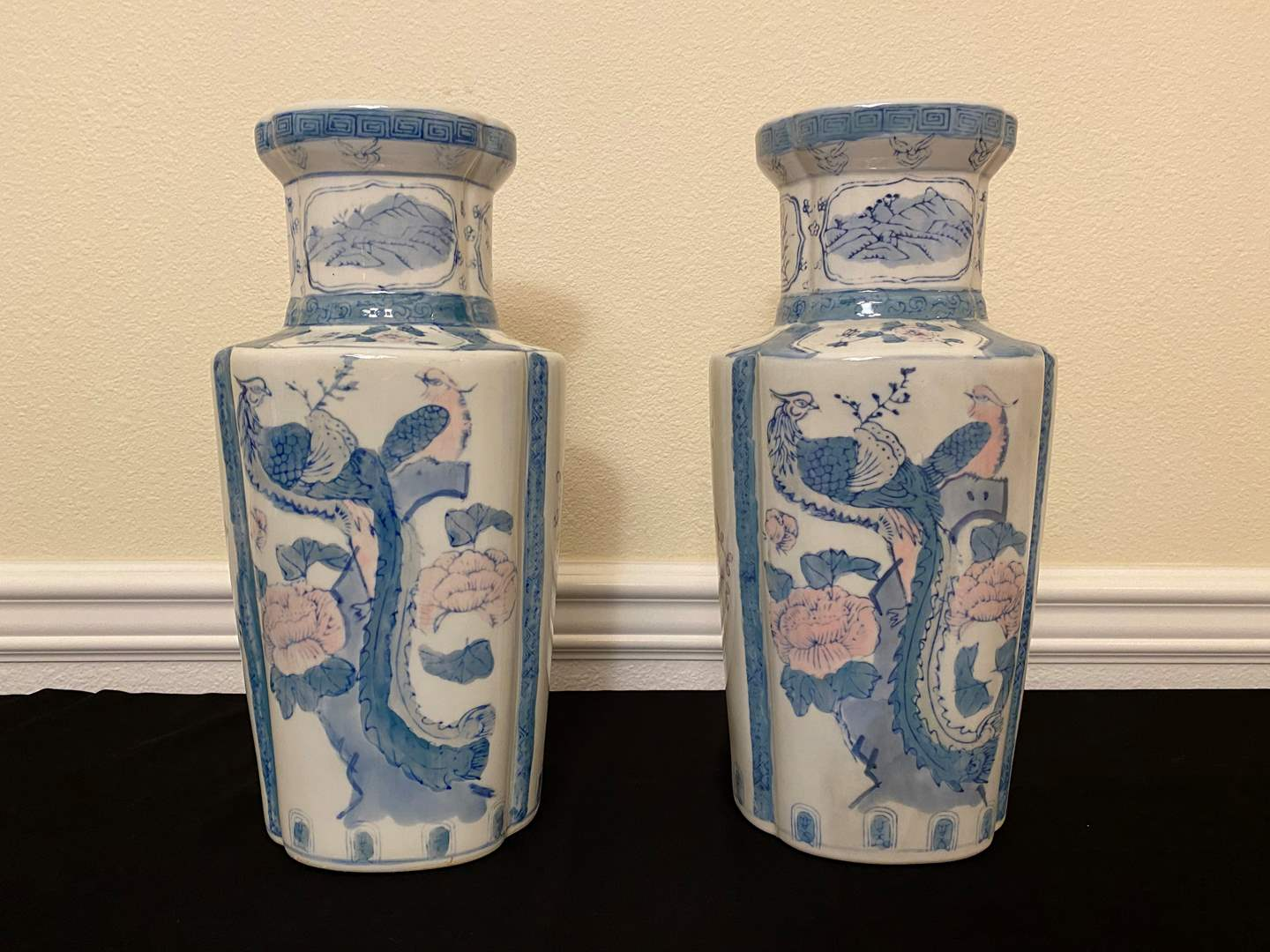 "Lot # 16 - Two Asian Ceramic Vases from Gottschalks - 15"" Tall  (main image)"