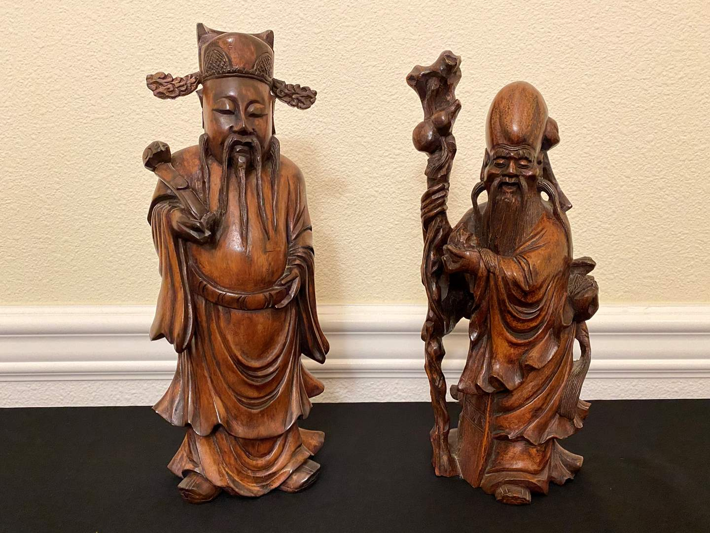 Lot # 17 - Two Hand Carved Wood Asian Figurines  (main image)