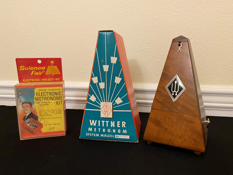 "Lot # 28 - Vintage Wood ""Wittner"" Metronome w/Original Box, Vintage ""Science Fair"" Electronic Metronome Kit (main image)"