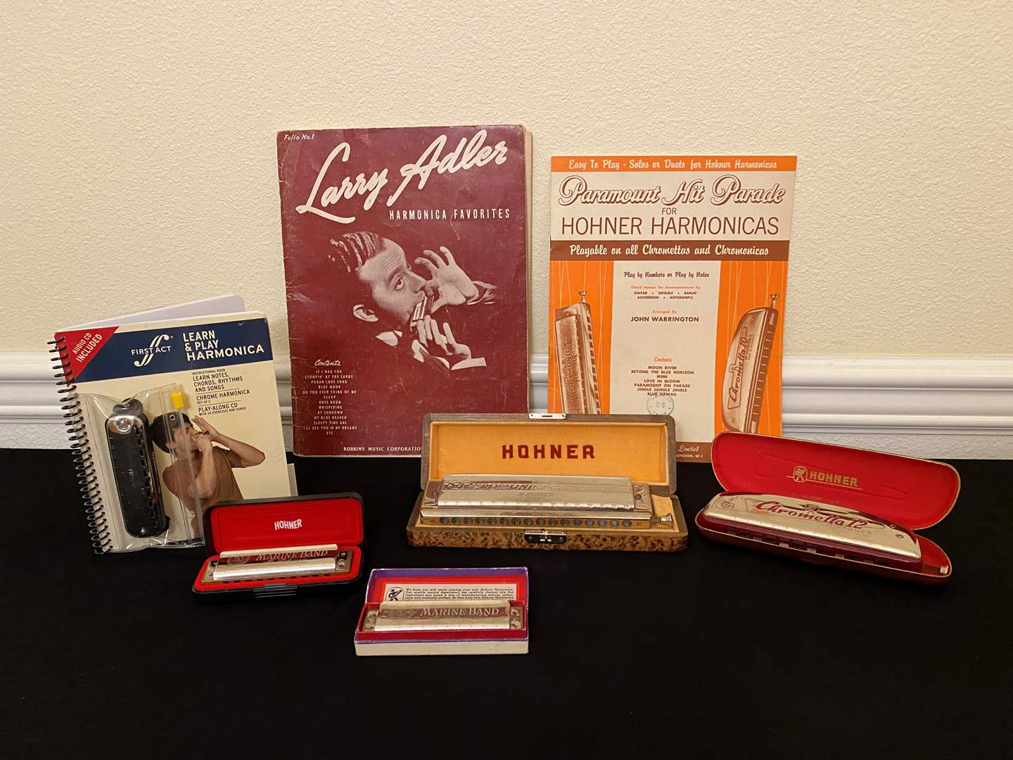 "Lot # 26 - Vintage German ""Hohner"" The 64 Chromonica, Two Vintage Marine Band ""Hohner"" Harmonicas & More.. (main image)"