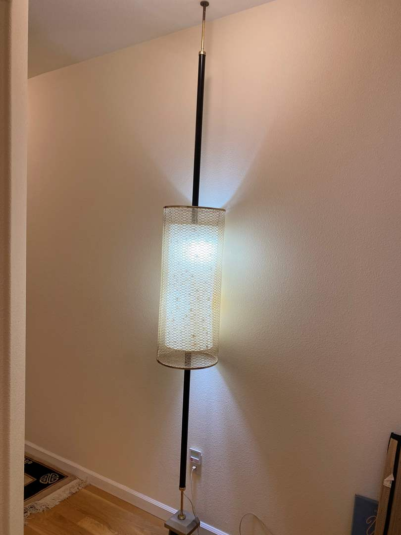 "Lot # 31 - Vintage Mid-Century Pole Lamp w/Starburst Shade - Works - Set at 101"" Tall  (main image)"