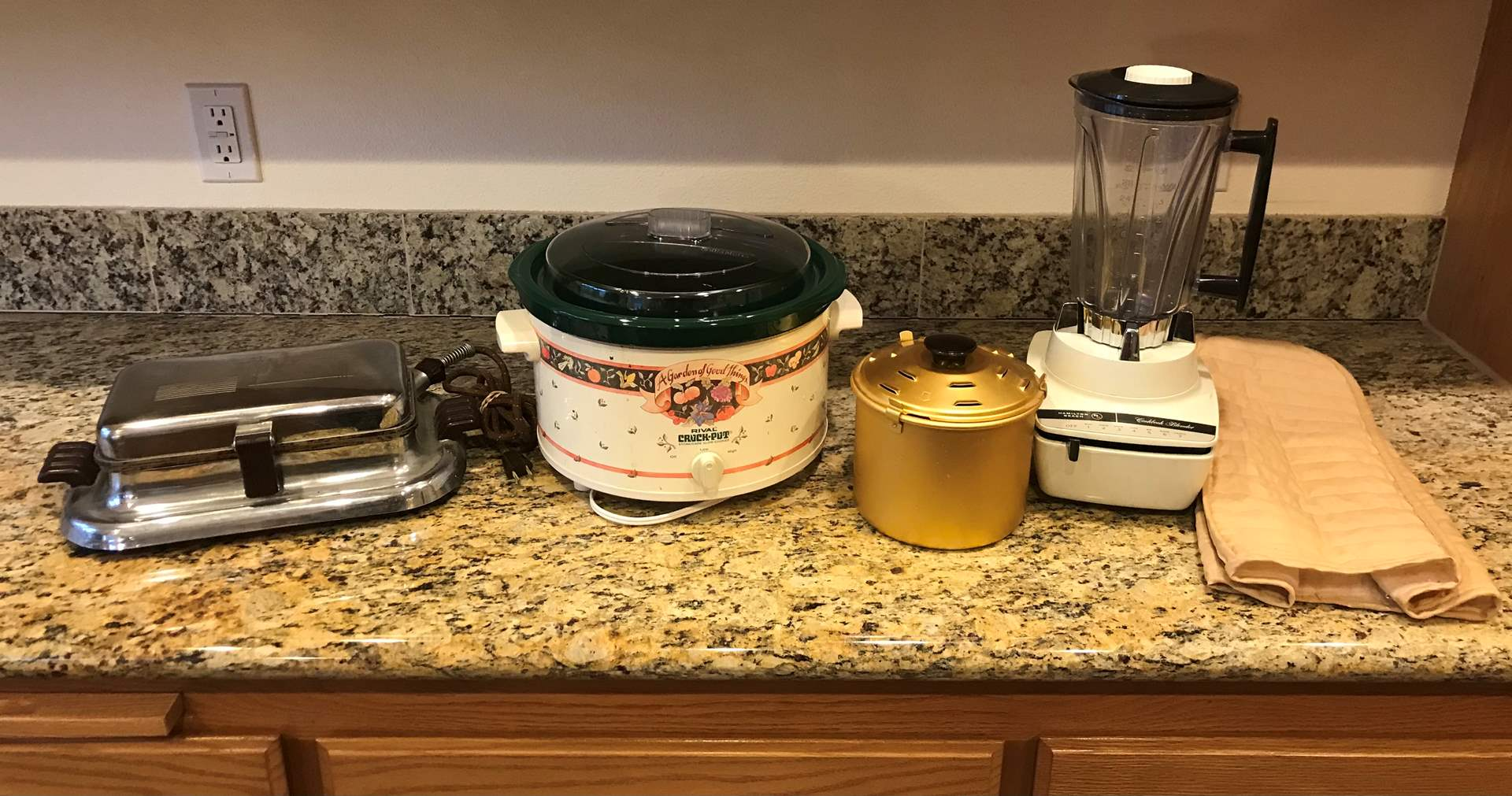Lot # 68 - Rival Crock-Pot, Hamilton Beach Blender, Old Waffle Maker (main image)