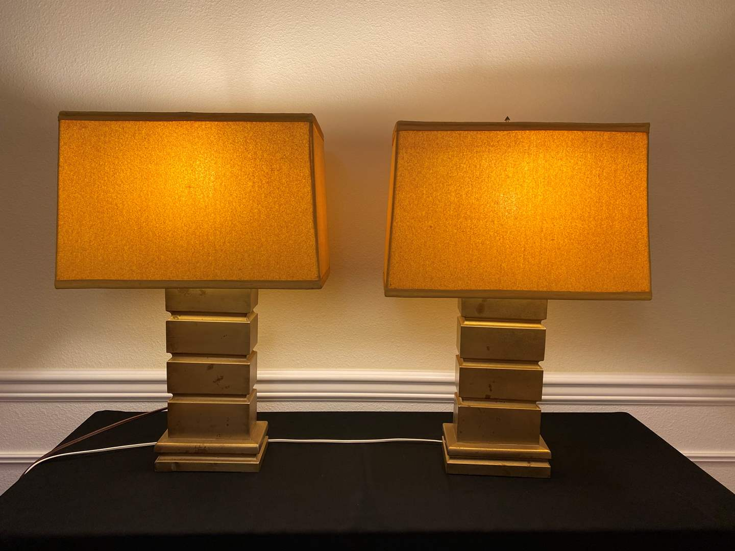 Lot # 36 - Two Vintage Brass Table Lamps (main image)
