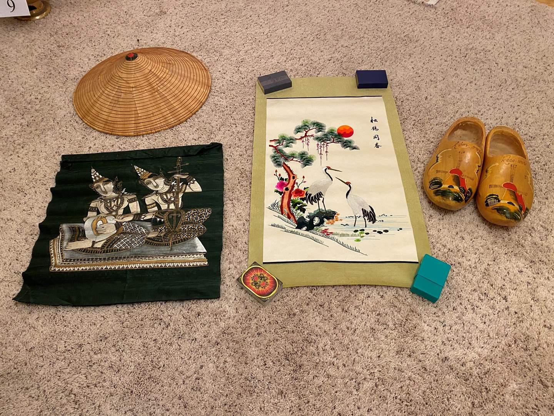 Lot # 47 - Original Silk Asian Artwork, Cloth Wall Hanging, Holland Wood Clogs, Asian Rice Field Hat (main image)