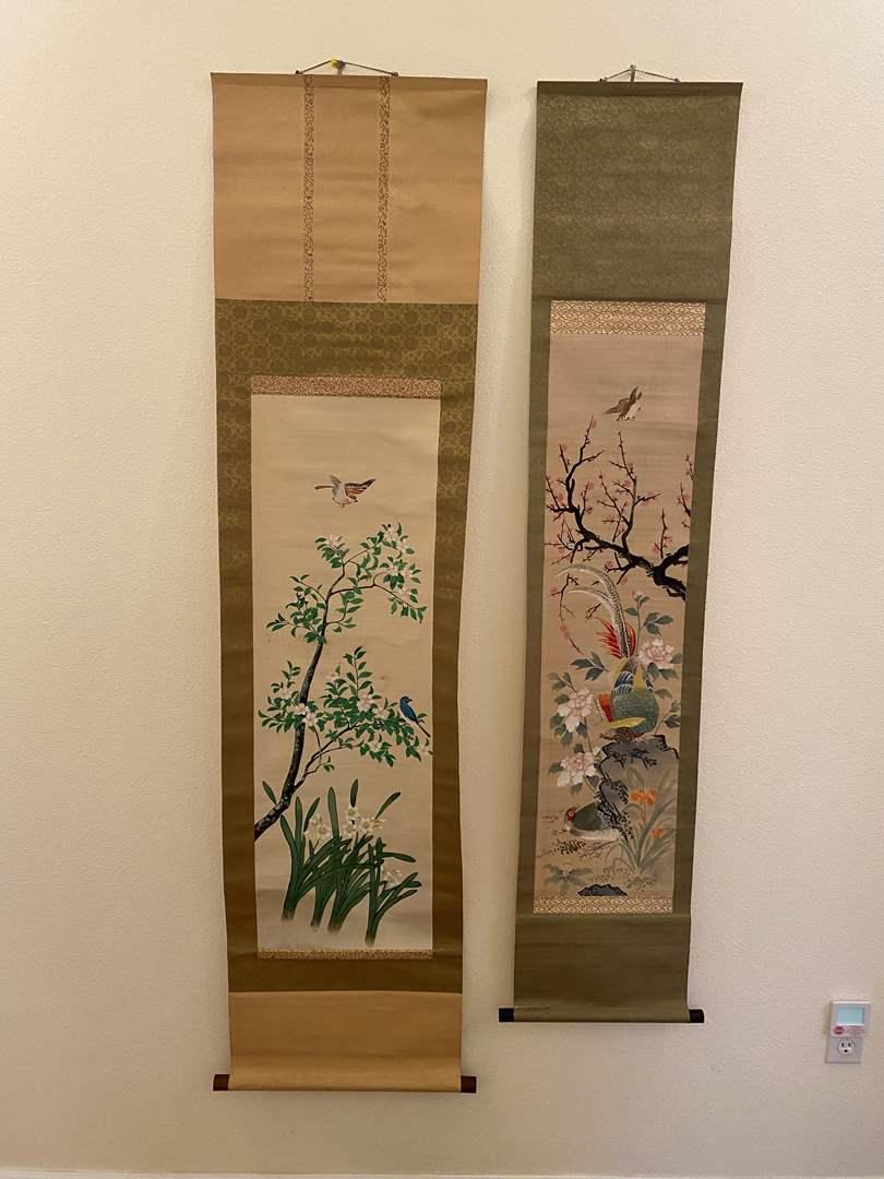 Lot # 102 - Two Original Asian Scroll Wall Hangings (main image)