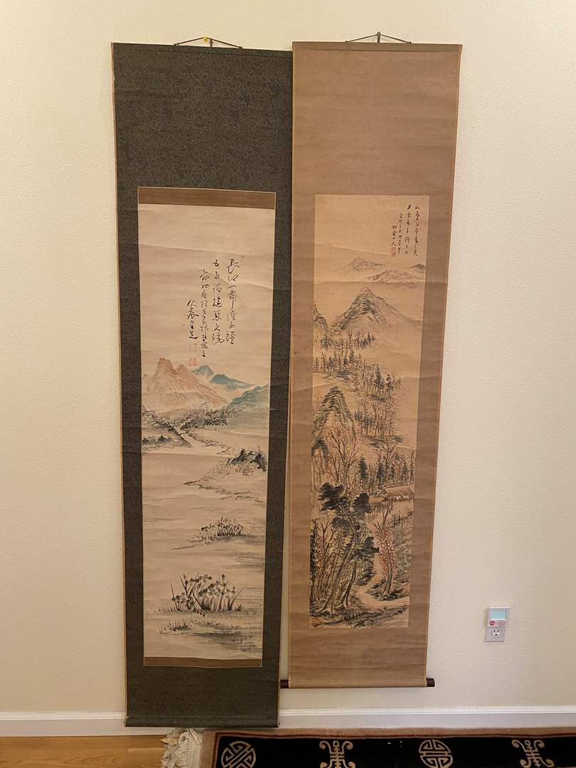 Lot # 103 - Two Original Asian Scroll Wall Hangings (main image)