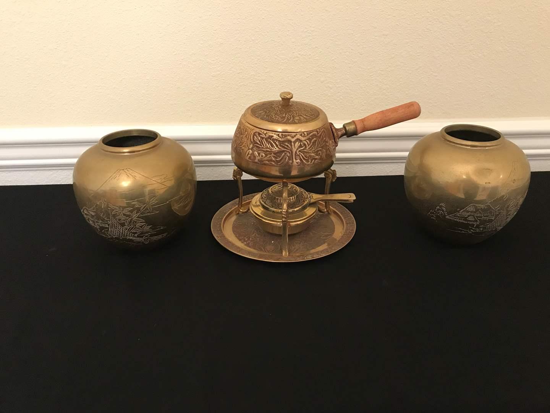 Lot # 83 - Small Brass Fondue Set, 2 Brass Mount Fuji Urns (main image)
