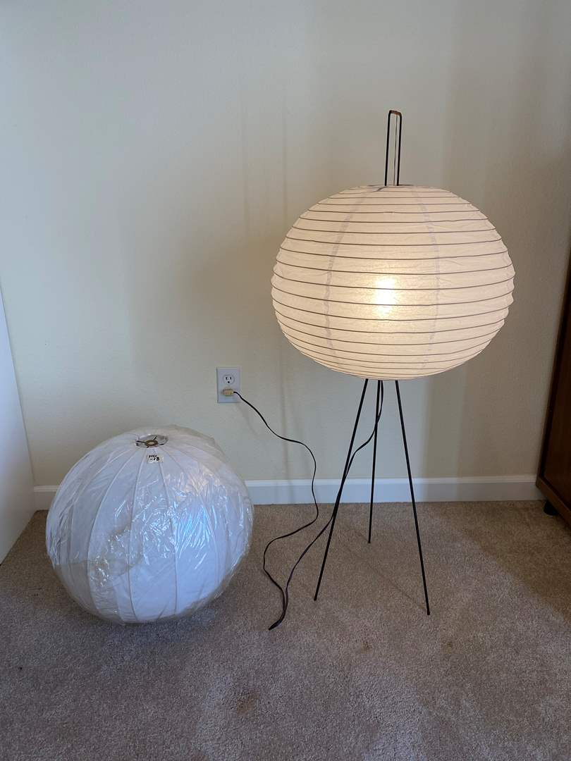 """Lot # 120 - Asian Style Floor Lamp w/Paper Shade & One New Shade - 44"""" Tall  (main image)"""