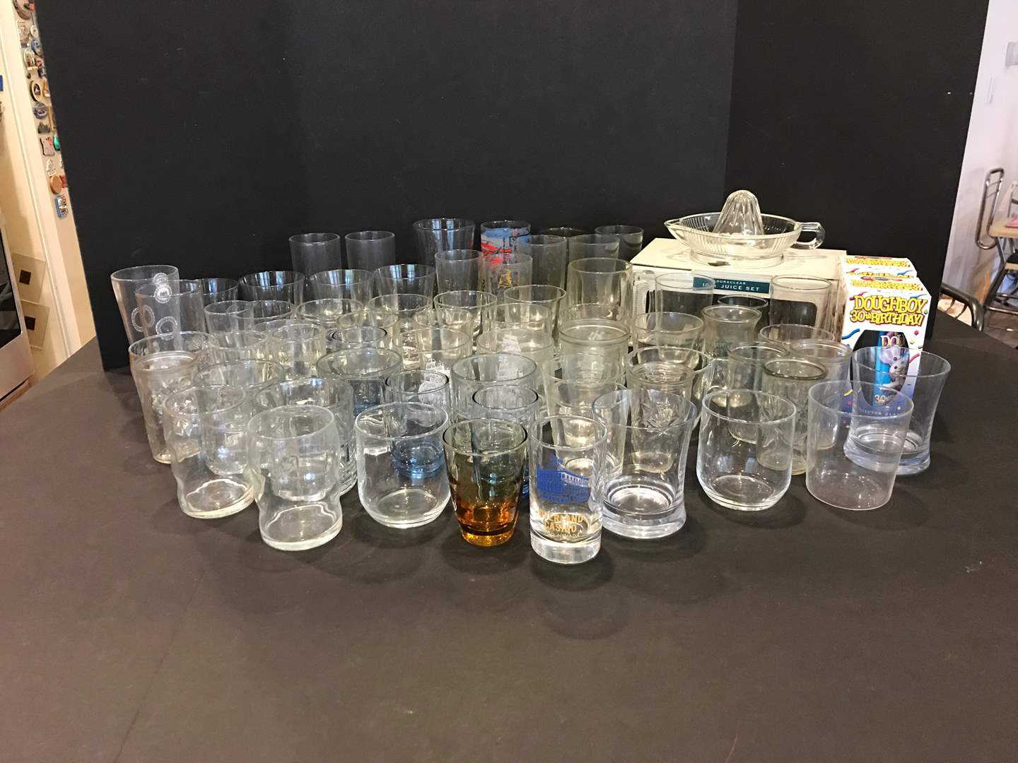 Lot # 86 - Large Selection of Glass Cups & Some Plastic Cups (main image)