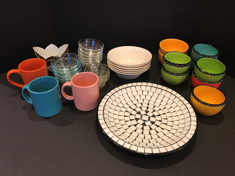 Lot # 88 - 2 Waechtersbach German Coffee Mugs, Corelle Bowls, Small Pyrex Bowls, Large Decorative Plate & More.. (main image)