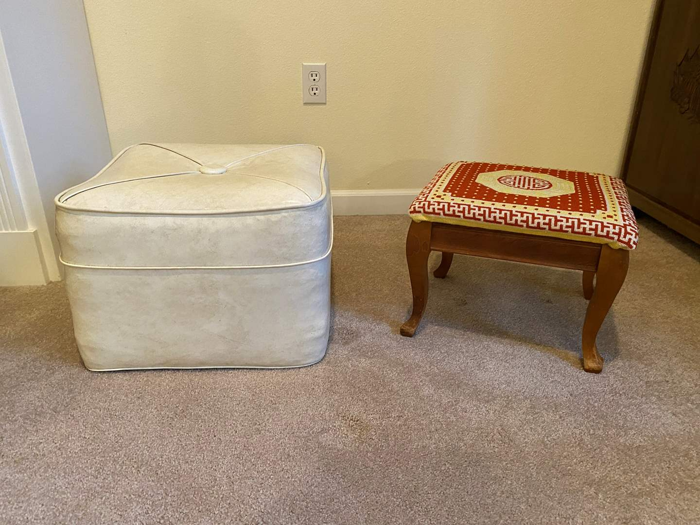 Lot # 128 - Leather Hassock, Small Wood Stool (main image)