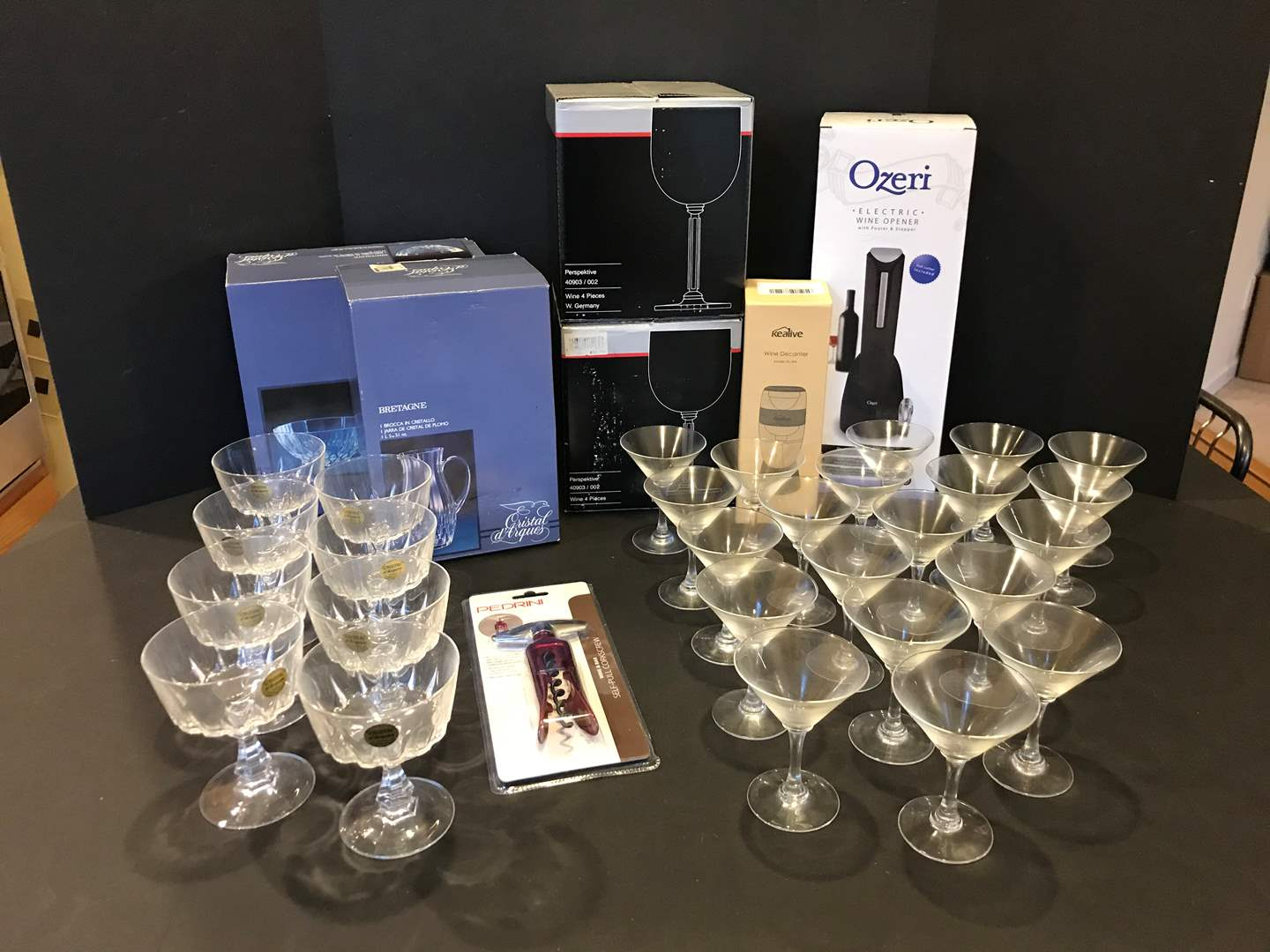 Lot # 90 - New in Box Mikasa Crystal Wine Glasses, New in Box Crystal Bowl & Pitcher, Ozeri Electric Wine Opener & More.. (main image)