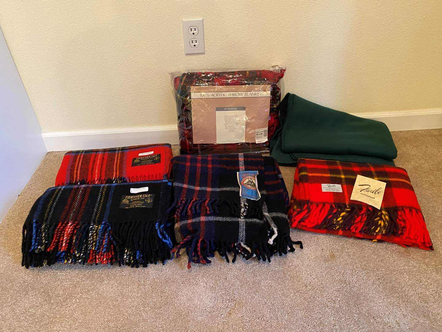 """Lot # 130 - New """"Heather Isle"""" Scottish Wool Blankets, New """"Faribo"""" Wool Throw & Other Misc. Throws (main image)"""