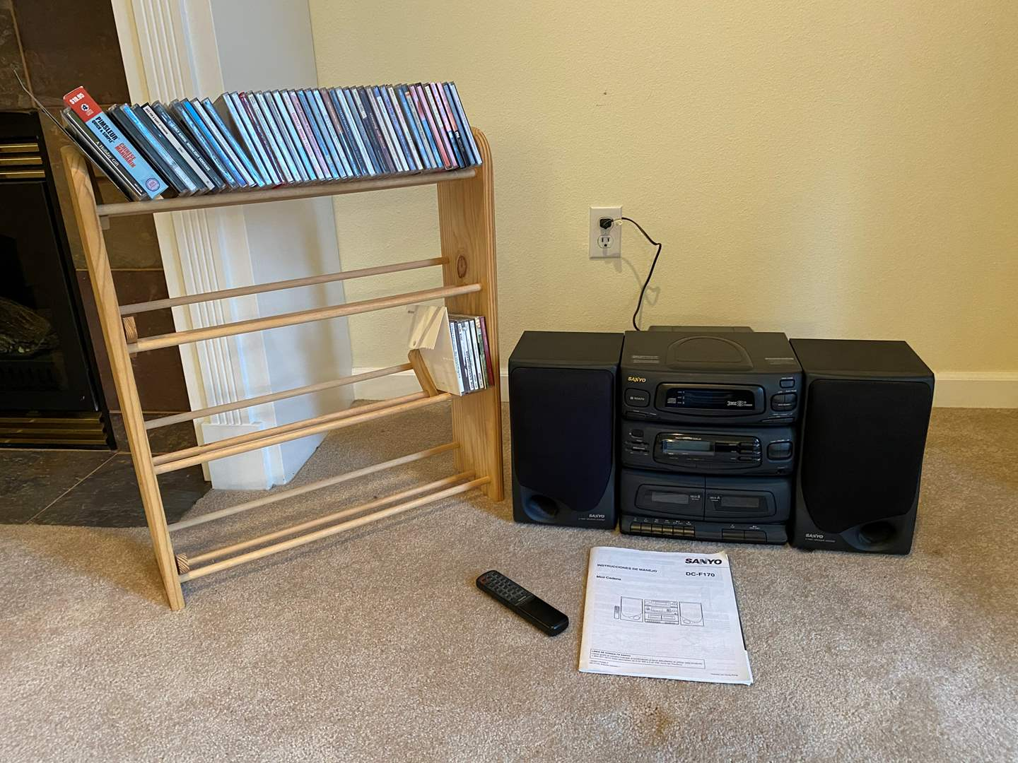 Lot # 133 - Sanyo DC-F170 3 Disk CD Stereo w/Remote, CD Rack & CD's - See Pictures (main image)