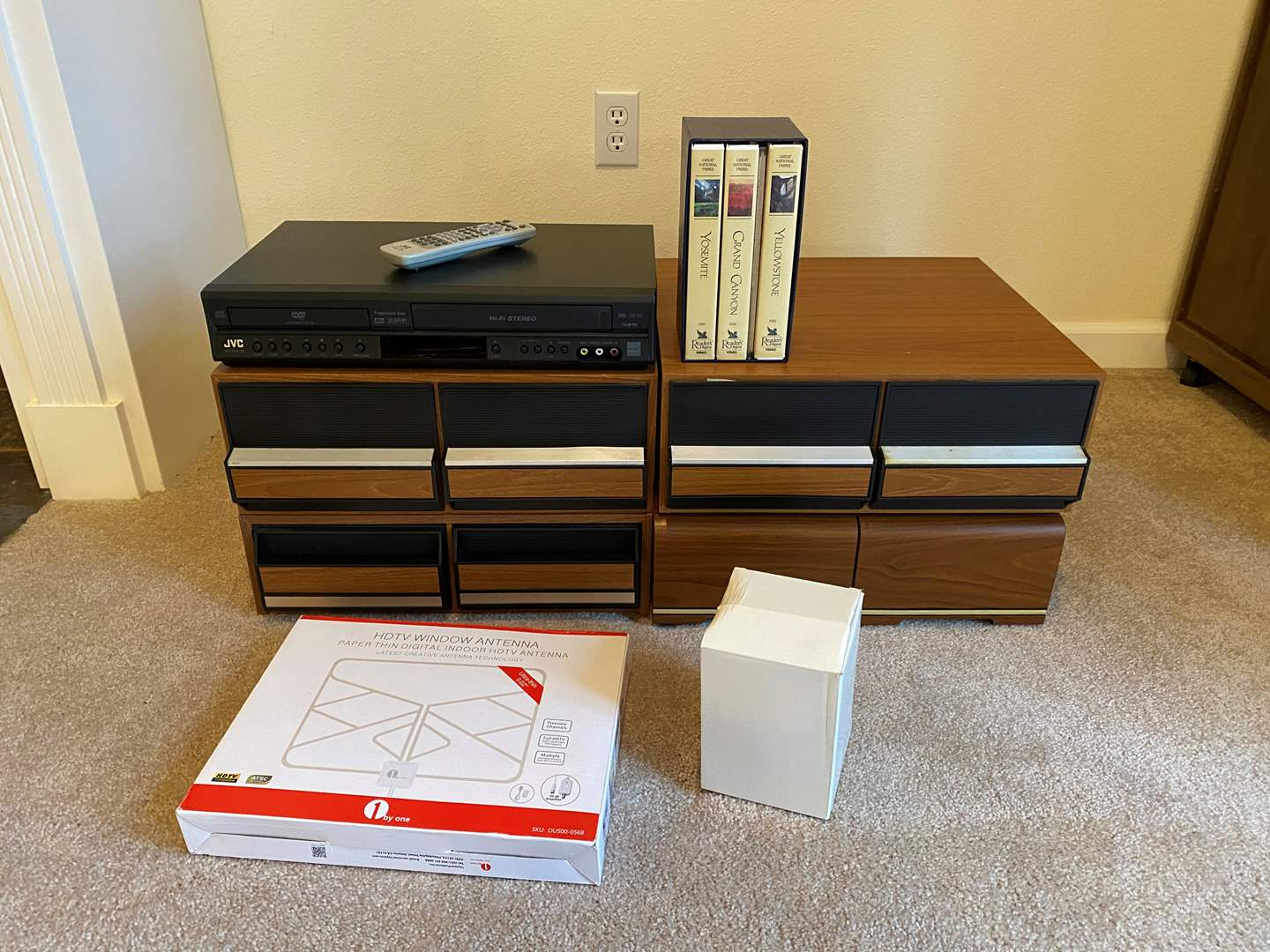 Lot # 136 - JVC DVD/VHS Player w/Vintage VHS Tapes & Holders, Antennas & More.. (main image)